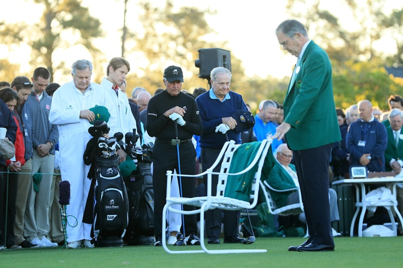 Gary Player, Jack Nicklaus, Billy Payne, and Arnold Palmer's green jacket