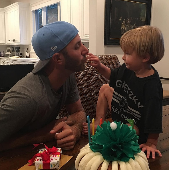 Dustin Johnson and his son, Tatum