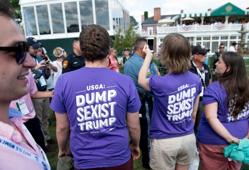 Protesters at Trump National