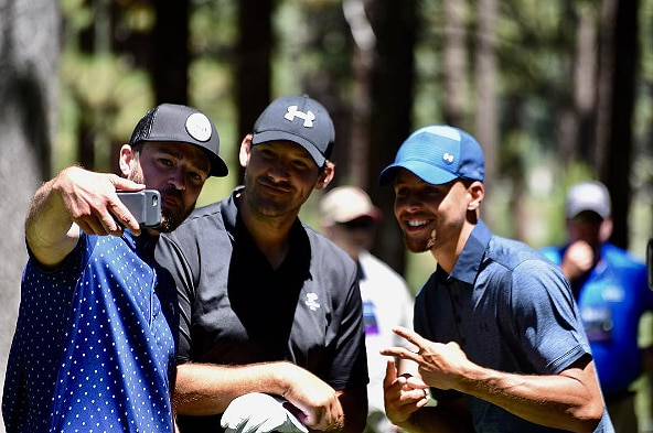 Steph Curry, Justin Timberlake and Tony Romo