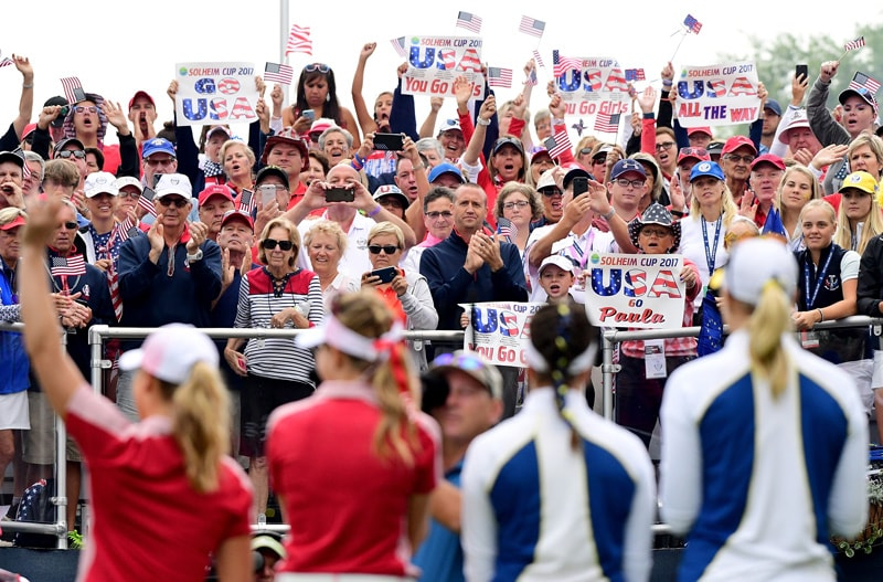 Fans at the first tee