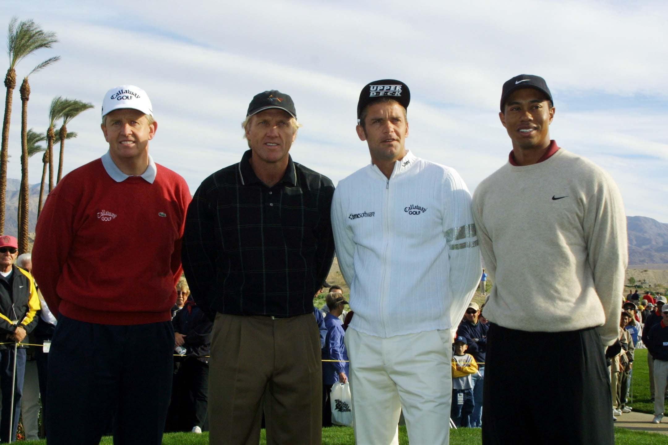 Colin Montgomerie, Greg Norman, Jesper Parnevik and Tiger Woods, 2001