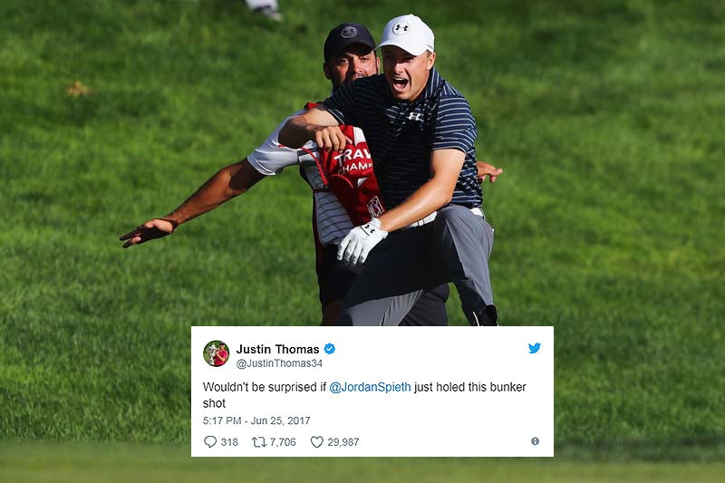 Spieth walks off with bunker hole-out after Thomas calls it