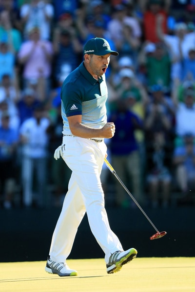 Sergio Garcia eagles the 15th hole on Sunday at the Masters
