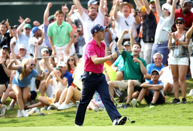 Justin Thomas chips in for birdie at 13 on Sunday