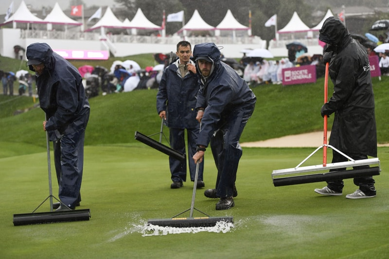 Evian gets reduced to 54 holes; weather mars playoff