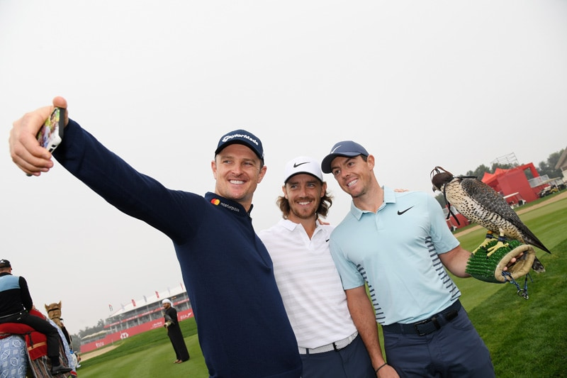 Justin Rose, Tommy Fleetwood, and Rory McIlroy