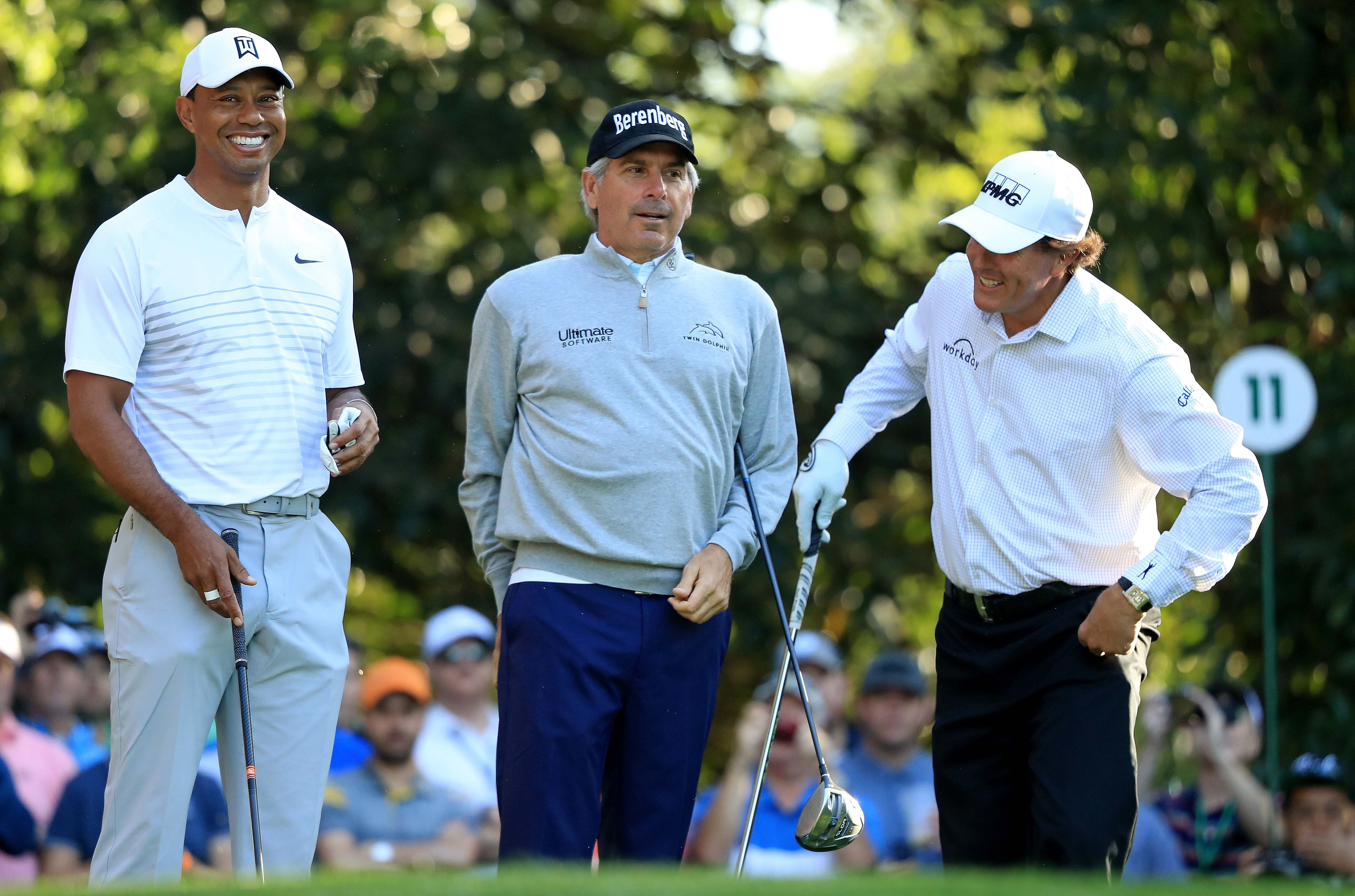 Tiger Woods, Fred Couples and Phil Mickelson