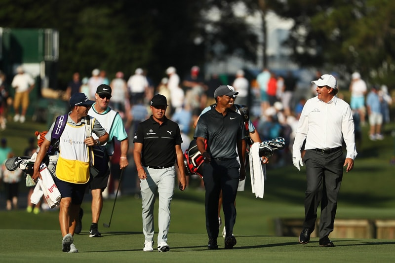 Rickie Fowler, Tiger Woods, Phil Mickelson