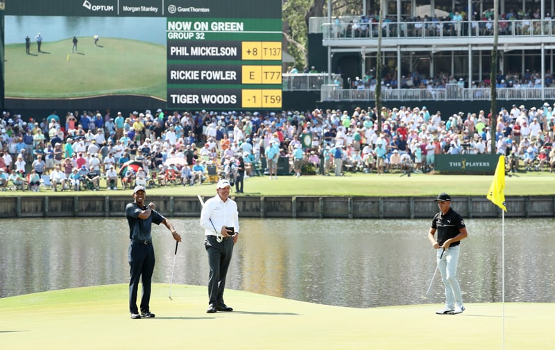 Tiger Woods, Phil Mickelson and Rickie Fowler