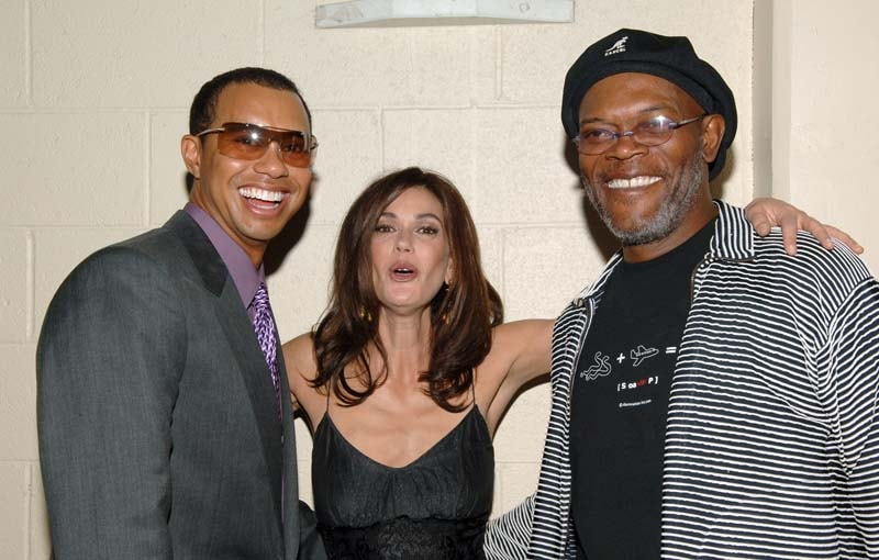 Tiger Woods, Teri Hatcher and Samuel L. Jackson