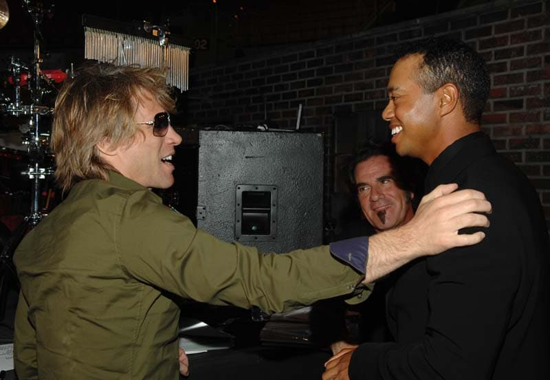 Jon Bon Jovi, Tico Torres and Tiger Woods