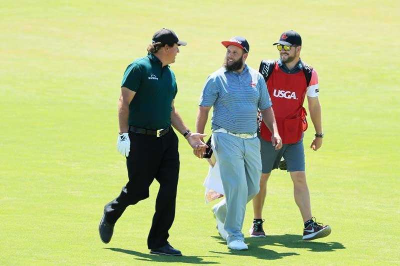 Phil Mickelson and Andrew 'Beef' Johnston