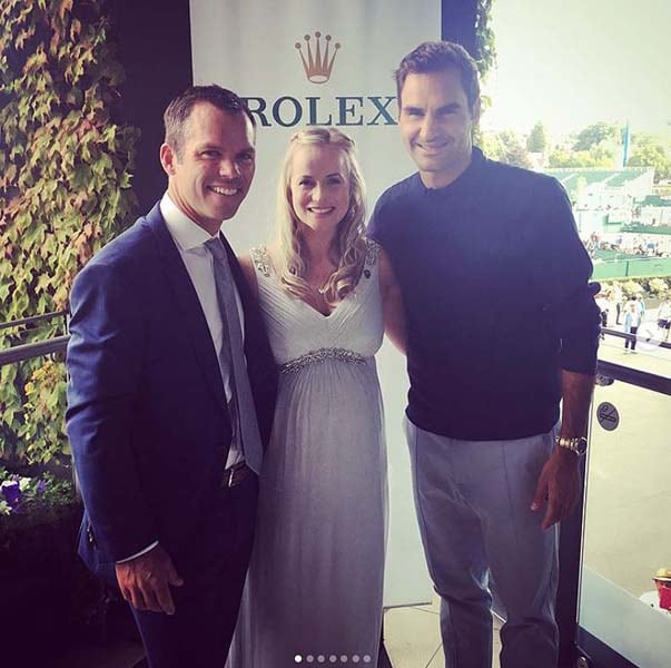 Paul Casey, Pollyanna Woodward and Roger Federer