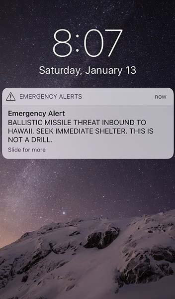 False missle alert at the Sony Open