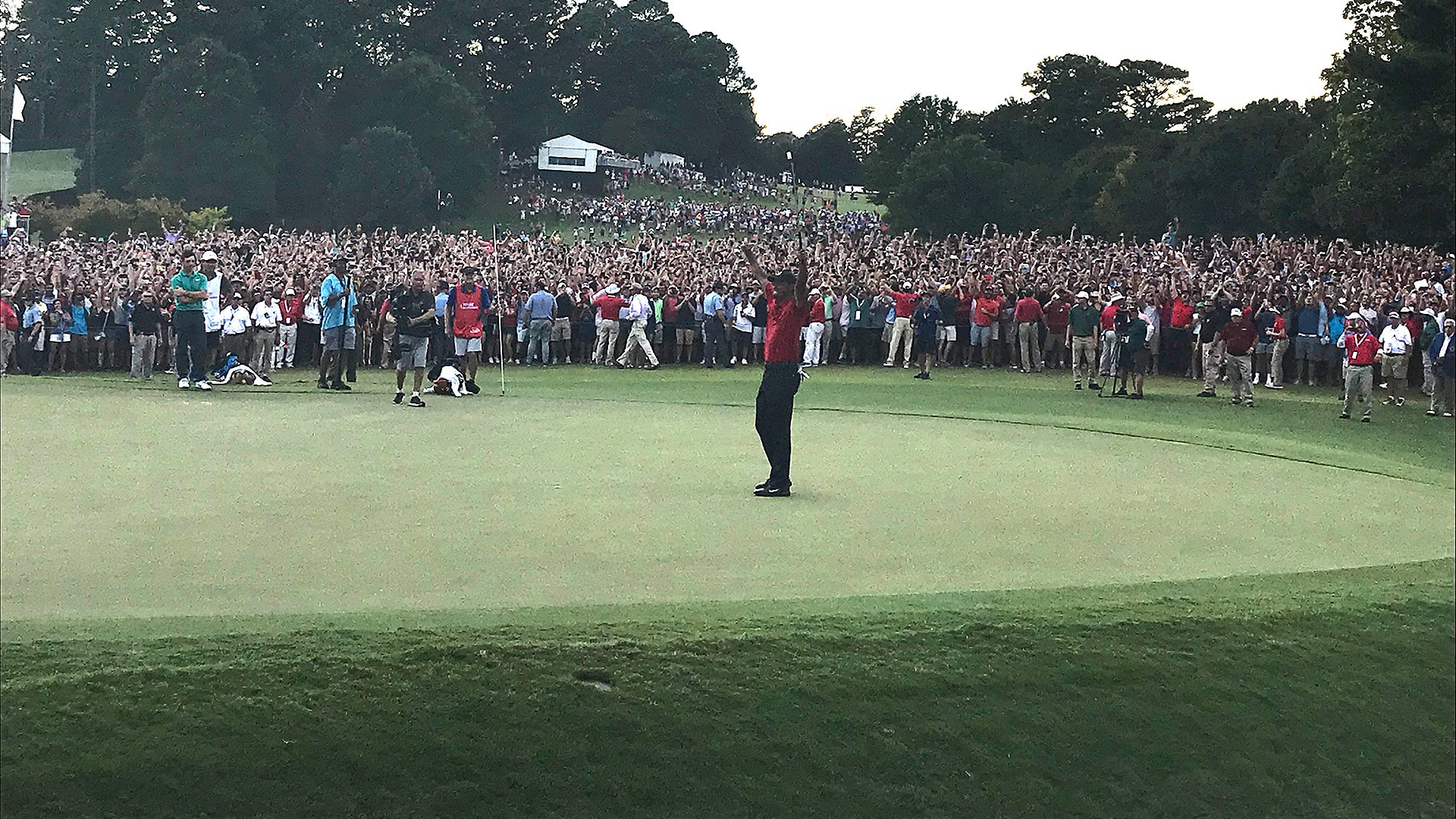 Tiger Woods en route to winning the 2018 Tour Championship (Mercer Baggs)