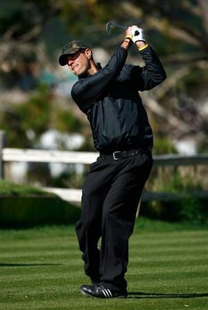 PEBBLE BEACH, CA - FEBRUARY 14: Carson Daly hits a tee shot on the fifth hole during the third round of the AT&T Pebble Beach National Pro-Am at the Pebble Beach Golf Links on February 14, 2009 in Pebble Beach, California. (Photo by Jeff Gross/Getty Images)
