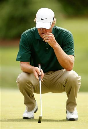 CHARLOTTE, NC - MAY 04:  Lucas Glover reacts to missing a putt on the 8th hole during the final round of the Quail Hollow Championship at the Quail Hollow Club on May 4, 2009 in Charlotte, North Carolina.  (Photo by Streeter Lecka/Getty Images)