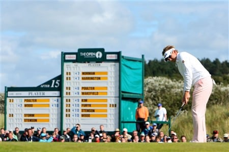 SOUTHPORT, UNITED KINGDOM - JULY 20:  Ian Poulter of England hits a birdie putt on the 16th green during the final round of the 137th Open Championship on July 20, 2008 at Royal Birkdale Golf Club, Southport, England.  (Photo by Stuart Franklin/Getty Images)