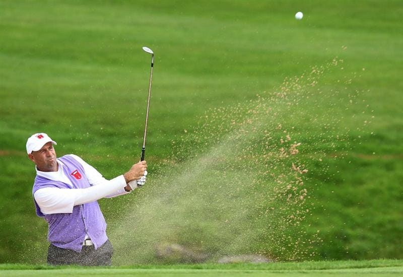 NEWPORT, WALES - OCTOBER 02:  Stewart Cink of the USA hits from a bunker during the rescheduled Afternoon Foursome Matches during the 2010 Ryder Cup at the Celtic Manor Resort on October 2, 2010 in Newport, Wales.  (Photo by Andy Lyons/Getty Images)