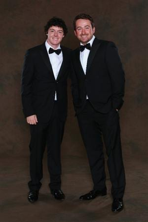 NEWPORT, WALES - SEPTEMBER 29:  Rory McIlroy (L) and Graeme McDowell of the European Ryder Cup team pose prior to the 2010 Ryder Cup Dinner at the Celtic Manor Resort on September 29, 2010 in Newport, Wales.  (Photo by David Cannon/Getty Images)