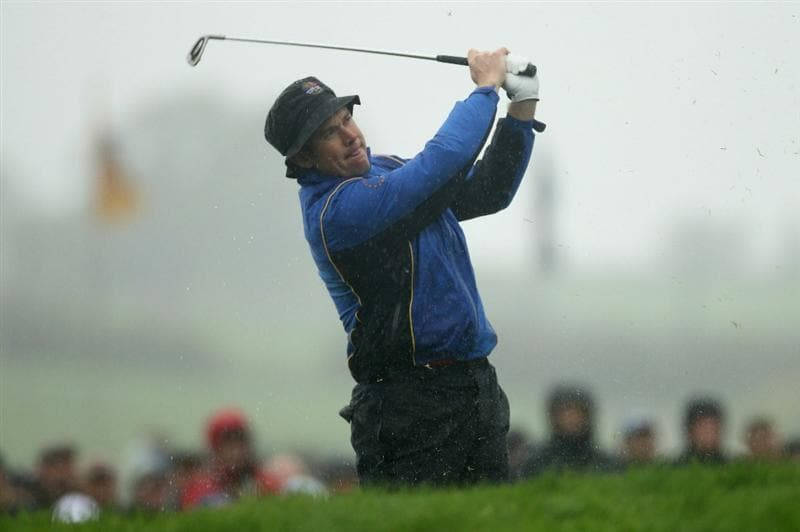 NEWPORT, WALES - OCTOBER 01:  Lee Westwood of Europe hits an irion shot during the Morning Fourball Matches during the 2010 Ryder Cup at the Celtic Manor Resort on October 1, 2010 in Newport, Wales. (Photo by Ross Kinnaird/Getty Images)