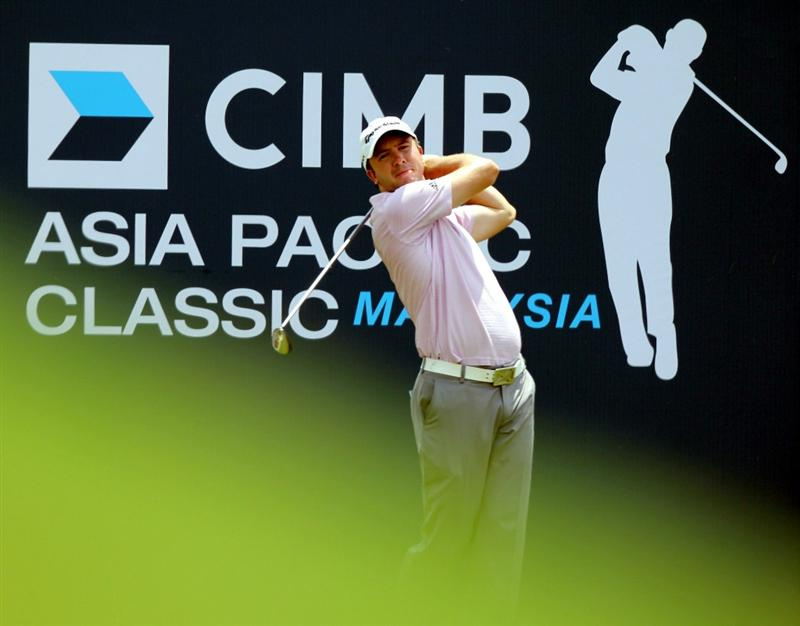 KUALA LUMPUR, MALAYSIA - OCTOBER 28: Martin Laird of Scotland tees off on the 10th hole during day one of the CIMB Asia Pacific Classic at The MINES Resort & Golf Club on October 28, 2010 in Kuala Lumpur, Malaysia. (Photo by Stanley Chou/Getty Images)