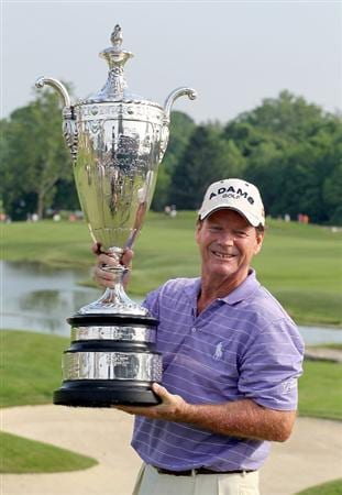 LOUISVILLE, KY - MAY 29:  Tom Watson holds the winner's trophy after winning the Senior PGA Championship presented by KitchenAid at Valhalla Golf Club on May 29, 2011 in Louisville, Kentucky.  (Photo by Andy Lyons/Getty Images)