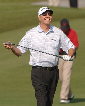 Don Pooley is all smiles after chipping in for an eagle on the seventh hole during the first round of the 2005 Liberty Mutual Legends of Golf tournament at the Westin Savannah Harbor Golf Resort & Spa on April 22, 2005 in Savannah, Georgia.Photo by Al Messerschmidt/WireImage.com