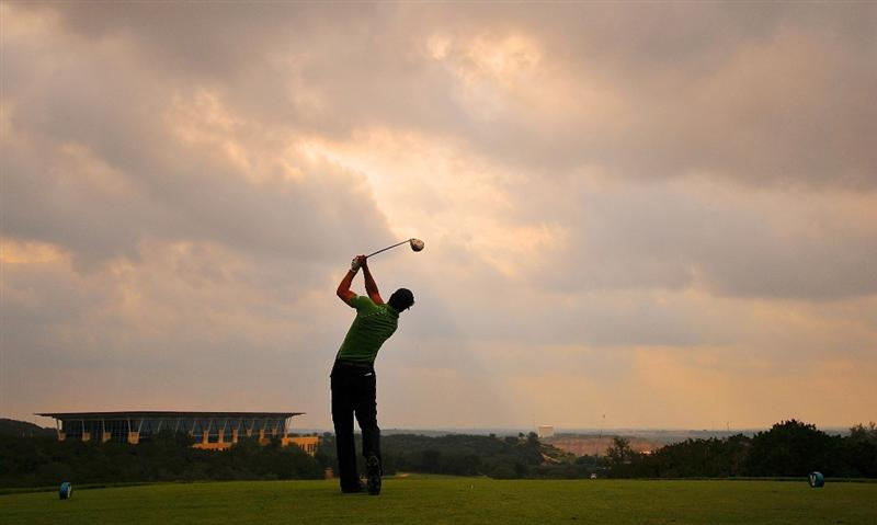 SAN ANTONIO TX - MAY 14: James Nitties of Australia tees off the 5th hole during the first round of  the Valero Texas Open held at La Cantera Golf Club on May 14, 2009 in San Antonio, Texas (Photo by Marc Feldman/Getty Images)