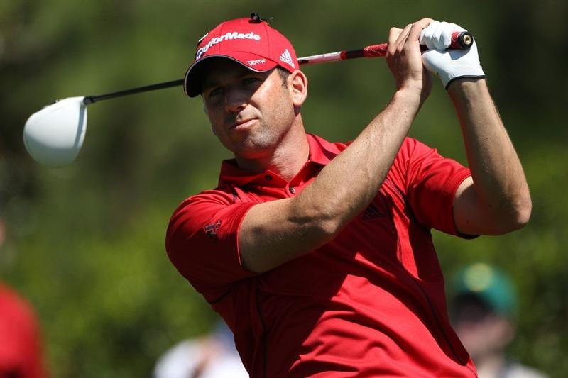 AUGUSTA, GA - APRIL 07:  Sergio Garcia of Spain hits his tee shot on the 15th hole during the first round of the 2011 Masters Tournament at Augusta National Golf Club on April 7, 2011 in Augusta, Georgia.  (Photo by Andrew Redington/Getty Images)