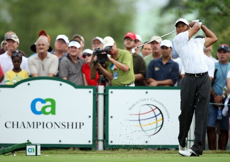 MIAMI - MARCH 22:  Tiger Woods of the USA tees off at the 4th hole during the third round of the 2008 World Golf Championships CA Championship at the Doral Golf Resort & Spa, on March 22, 2008 in Miami, Florida.  (Photo by David Cannon/Getty Images)