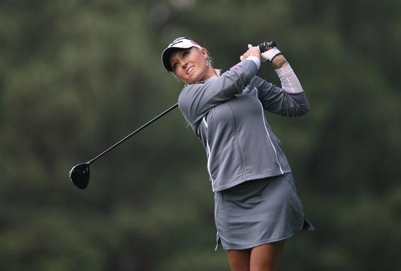WILLIAMSBURG, VA - MAY 07:  Natalie Gulbis hits her tee shot on the 8th hole during the first round of the Michelob Ultra Open at Kingsmill Resort on May 7, 2009 in Williamsburg, Virginia.  (Photo by Hunter Martin/Getty Images)