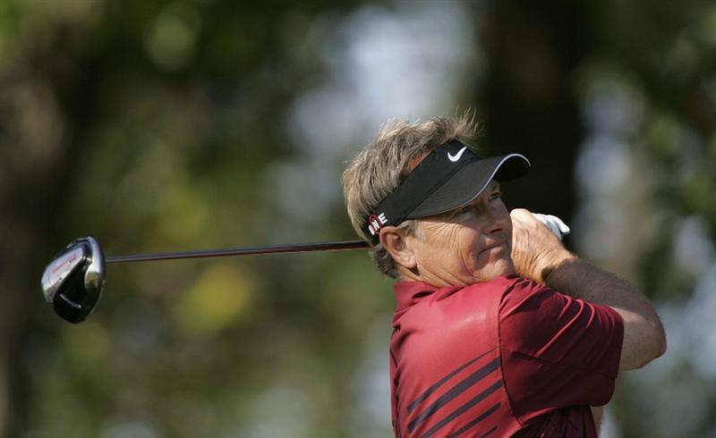 TIMONIUM, MD - OCTOBER 04: John Cook hits his drive on the 14th hole during the final round of the Constellation Energy Senior Players Championship at Baltimore Country Club/Five Farms (East Course) held on October 4, 2009 in Timonium, Maryland (Photo by Michael Cohen/Getty Images)
