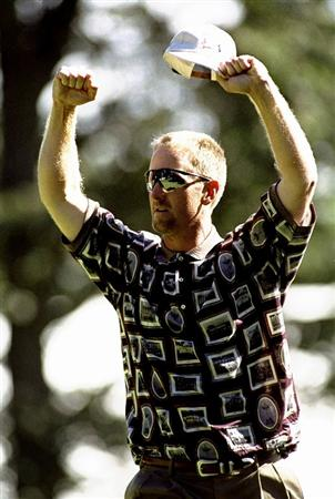 26 Sep 1999:  David Duval of the USA celebrates during the 33rd Ryder Cup match played at the Brookline CC in Boston, Massachusetts, USA. \ Mandatory Credit: Craig Jones /Allsport