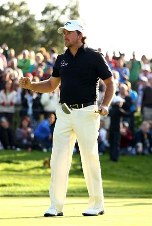 SOTOGRANDE, SPAIN - OCTOBER 31:  Graeme McDowell of Northern Ireland celebrates victory as he holes the winning putt on the 18th green during the final round of the Andalucia Valderrama Masters at Club de Golf Valderrama on October 31, 2010 in Sotogrande, Spain.  (Photo by Richard Heathcote/Getty Images)