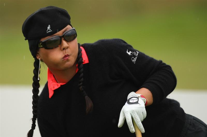 LYTHAM ST ANNES, ENGLAND - JULY 31:  Christina Kim of USA reacts to a tee shot during the second round of the 2009 Ricoh Women's British Open Championship held at Royal Lytham St Annes Golf Club, on July 31, 2009 in  Lytham St Annes, England.  (Photo by Warren Little/Getty Images)
