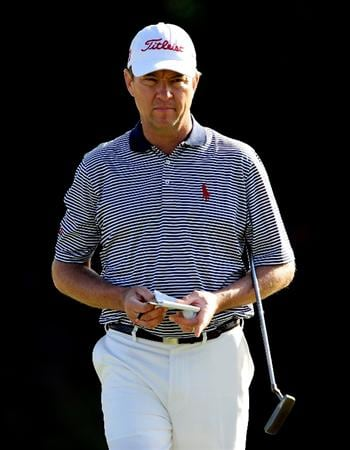 HONOLULU - JANUARY 14:  Davis Love III looks over a putt during the first round of the Sony Open at Waialae Country Club on January 14, 2010 in Honolulu, Hawaii.  (Photo by Sam Greenwood/Getty Images)