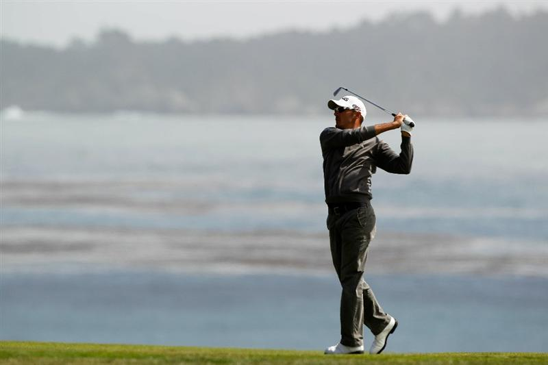 PEBBLE BEACH, CA - JUNE 20:  Gregory Havret of France plays a shot on the ninth hole during the final round of the 110th U.S. Open at Pebble Beach Golf Links on June 20, 2010 in Pebble Beach, California.  (Photo by Donald Miralle/Getty Images)