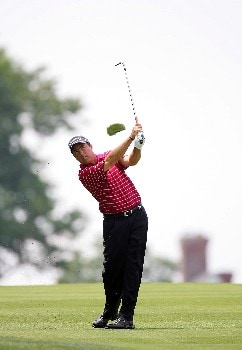 OAKMONT, PA - JUNE 16:  Olin Browne hits his second shot on the first hole during the third round of the 107th U.S. Open Championship at Oakmont Country Club on June 16, 2007 in Oakmont, Pennsylvania.  (Photo by Ross Kinnaird/Getty Images)