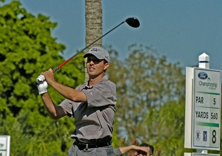Mike Weir tees off on the eighth  hole during third-round competition March 5, 2005  at the Ford Championship at Doral in Miami.