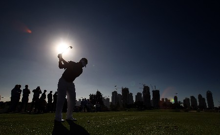 DUBAI, UNITED ARAB EMIRATES - JANUARY 29:  Lee Westwood of England hits his tee shot at the 7th hole during the Dubai Desert Classic Challenge Match, held on the Par 3 Course at the Emirates Golf Club, on January 29, 2007 in Dubai, United Arab Emirates.  (Photo by David Cannon/Getty Images)
