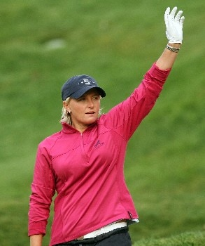 HUIXQUILUCAN, MEXICO - MARCH 12:  Becky Morgan of Wales celebrates a birdie on the second hole during completion of the final round of the MasterCard Classic at Bosque Real Country Club on March 12, 2007 in Huixquilucan, Mexico.  (Photo by Scott Halleran/Getty Images)