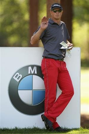 VIRGINIA WATER, ENGLAND - MAY 23:  Fredrik Andersson Hed of Sweden prepares to tee off at the 11th hole during the final round of the BMW PGA Championship on the West Course at Wentworth on May 23, 2010 in Virginia Water, England.  (Photo by Ross Kinnaird/Getty Images)