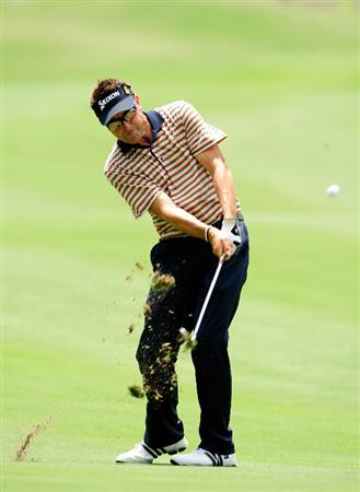 PONTE VEDRA BEACH, FL - MAY 07:  Robert Allenby of Australia plays a shot on the 18th fairway during the second round of THE PLAYERS Championship held at THE PLAYERS Stadium course at TPC Sawgrass on May 7, 2010 in Ponte Vedra Beach, Florida.  (Photo by Sam Greenwood/Getty Images)