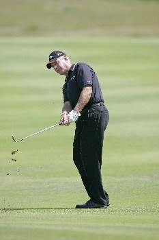 Bruce Fleisher hits an approach shot during the final round of the Bayer Advantage Classic held at LionsGate Golf Course in Overland Park, KS, June 12, 2005.Photo by G. Newman Lowrance/WireImage.com