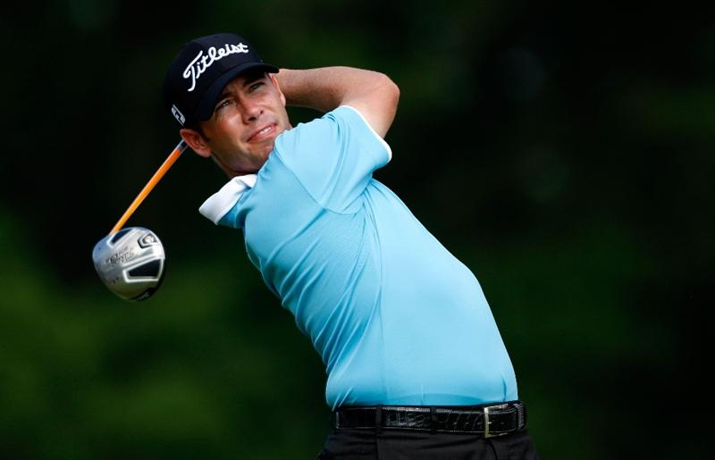 GREENSBORO, NC - AUGUST 23:  Chez Reavie watches his tee shot on the 18th hole during the final round of the Wyndham Championship at Sedgefield Country Club on August 23, 2009 in Greensboro, North Carolina  (Photo by Streeter Lecka/Getty Images)