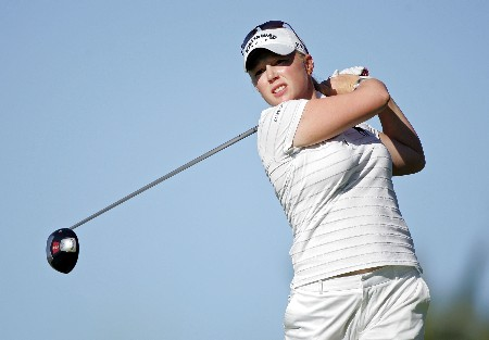 KAPOLEI, HI - FEBRUARY 21:  Morgan Pressel hits her tee shot on the 13th hole during the first round of  the Fields Open on February 21, 2008  at the Ko Olina Golf Club in Kapolei, Hawaii.  (Photo by Andy Lyons/Getty Images)
