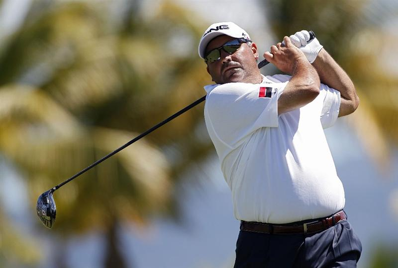 RIO GRANDE, PR - MARCH 12:  Angel Cabrera of Argentina hits his drive on the 12th hole during the third round of the Puerto Rico Open presented by seepuertorico.com at Trump International Golf Club on March 12, 2011 in Rio Grande, Puerto Rico.  (Photo by Michael Cohen/Getty Images)