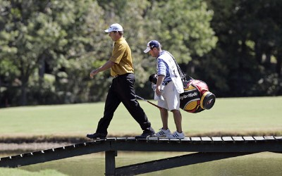 Dicky Pride crosses the bridge on the 17th hole during the second round of the Southern Farm Bureau Classic at Annandale Golf Club in Madison, Mississippi, on September 29, 2006. Photo by Hunter Martin/WireImage.com